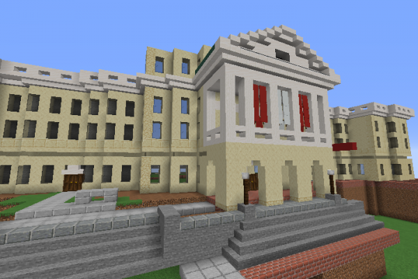Screen capture of Bascom Hall in Minecraft.