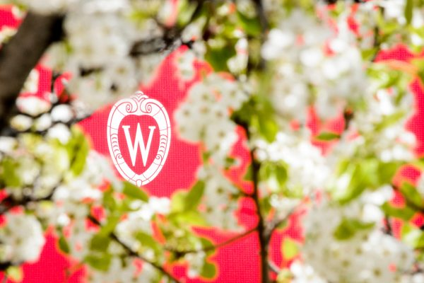W crest banner is pictured surrounded by spring blooms