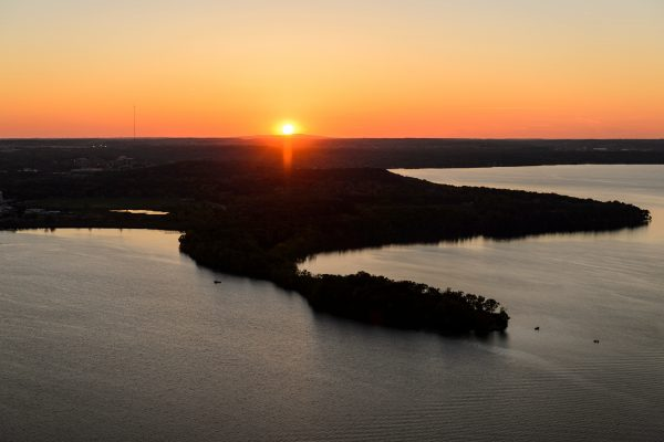 Lake Mendota and Picnic Point pictured in a sunset aerial view